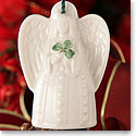 Belleek China Angel with Shamrock Bell Ornament