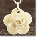 Belleek China Rose Pendant Necklace