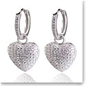 Cashs Crystal Pave Sterling Silver Heart Hoop Pierced Earrings, Pair