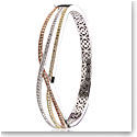 Cashs Crystal Pave Rose Gold, Gold and Sterling Silver Wave Bangle Bracelet