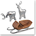 Nambe Sleigh with 2 Reindeer, 3 Piece Set