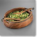 Nambe Metal and Wood Anvil Salad Bowl W/Servers