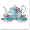 Royal Albert New Country Roses Polka Blue Tea For Two