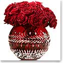 "Waterford Jeff Leatham Fleurology Meg Ruby Cased 12"" Rose Bowl"