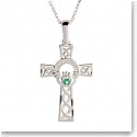 Cashs Sterling Silver Celtic Cross Necklace With Claddagh Green Stone