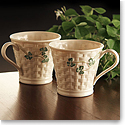 Belleek China Shamrock Mugs, Pair