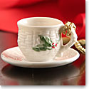 Belleek China Holly Cup and Saucer Ornament