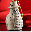 Belleek China Snowman With Fir Tree Ornament