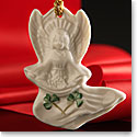Belleek China Angel with Shamrocks Ornament