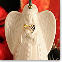 Belleek China Angel With Harp Bell Ornament