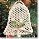 Belleek China Holly Basket Lace Bell Ornament