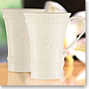 Belleek China Claddagh Latte Mugs, Pair