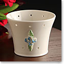 "Belleek China Forget Me Not Pierced 4"" Votive"