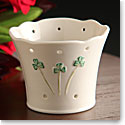 "Belleek China Shamrock Pierced 4"" Votive"