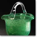 Cashs Ireland, Art Glass Forty Shades of Green, Basket