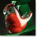 Cashs Crystal Art Glass Forty Shades of Green, Red Christmas Bird Ornament