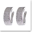 Cashs Crystal Pave Sterling Silver Flat Hoop Pierced Earrings, Pair