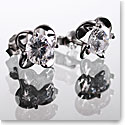Cashs Crystal Sterling Silver Irish Rose Solitaire Pierced Earrings Pair