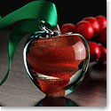 Cashs Crystal Art Glass Forty Shades of Green, Red Apple Ornament