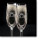 Cashs Crystal Claddagh Champagne Toasting Flutes, Pair
