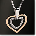 Cashs Sterling Silver and Gold Heart in Heart Pendant Necklace