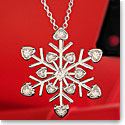 Cashs Sterling Silver and Crystal Heart Snowflake Pendant Necklace