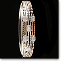 Cashs Crystal Pave Sterling Silver and Rose Gold Modern Hinged Bracelet