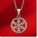Cashs Sterling Silver and Pave Circle Snowflake Pendant Necklace, Small