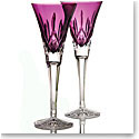 Waterford Lismore Amethyst Toasting Flutes, Pair