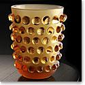 """Lalique Mossi Amber 8 1/4"""" Vase"""