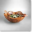 Nambe Wood Copper Canyon 3 Piece Salad Set - Wood Bowl with Copper Servers