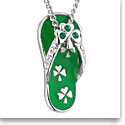 Cashs Rhodium Lucky Shamrock Flip Flop Pendant Necklace