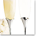 Waterford Ballet Ribbon Silver Toasting Flutes, Pair