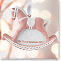 Wedgwood 2017 Baby's 1st Rocking Horse Pink Ornament