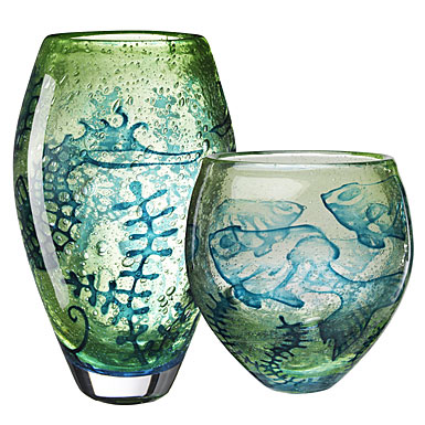 Kosta Boda Underworld Vase, Sea Horse Green 10 5/8in