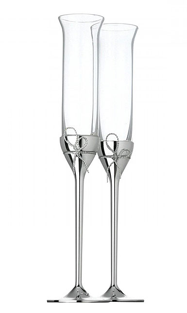 Vera Wang Wedgwood Crystal And Silver Love Knots Toasting Flutes