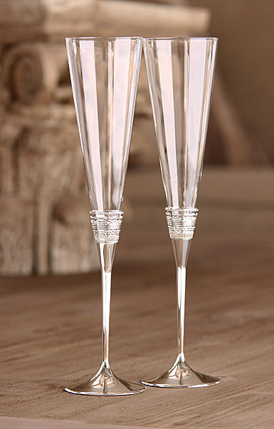 Vera Wang Wedgwood With Love Silver Toasting Flutes Pair