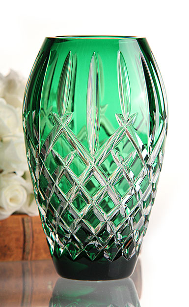 "Waterford Araglin Prestige Emerald Green 7"" Vase"