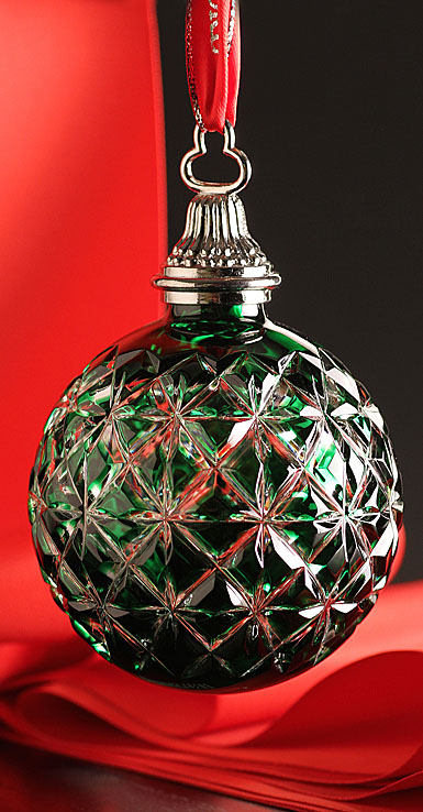 Waterford Emerald Cased Ball Ornament