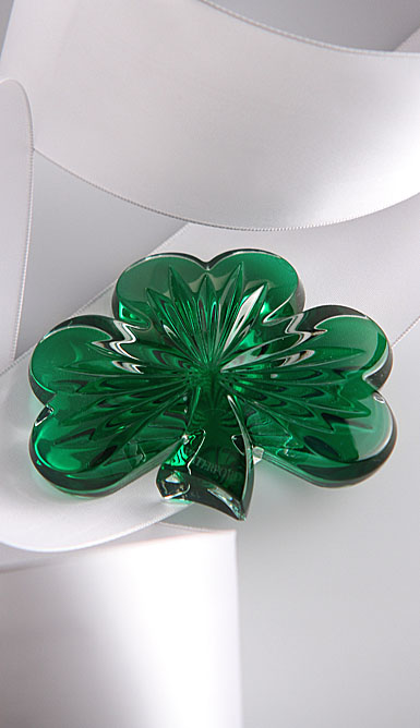 Waterford Green Shamrock Paperweight