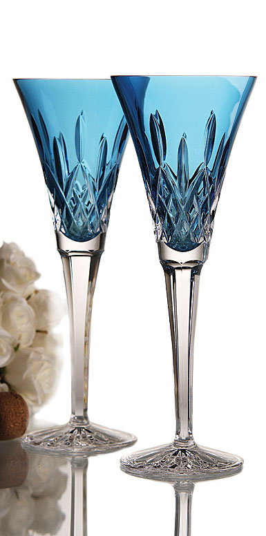 Waterford Lismore Jewels Aquamarine Toasting Flute Pair