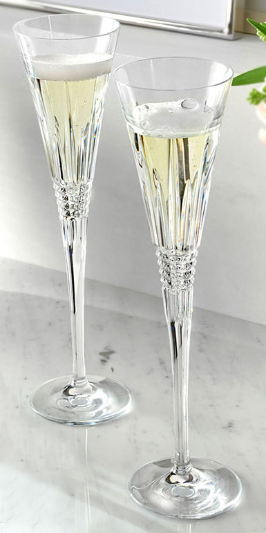 Waterford Crystal, Lismore Diamond Toasting Crystal Flutes, Pair