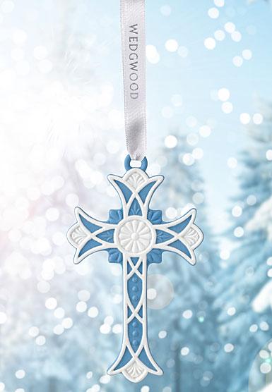 Wedgwood 2017 Figural Cross Blue Ornament