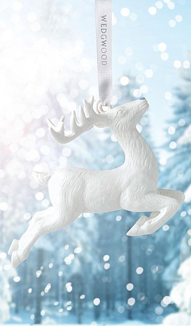 Wedgwood 2017 Figural Reindeer White Ornament