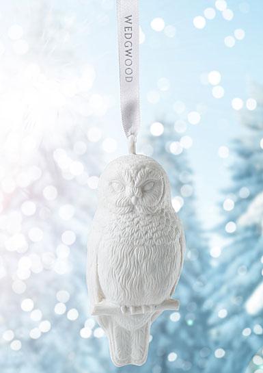 Wedgwood 2017 Figural Owl White Ornament