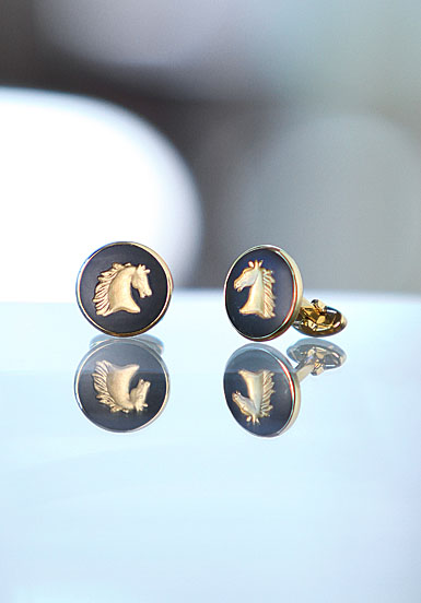 Wedgwood Black Round Cufflinks, Gold Horse Head
