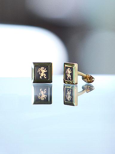 Wedgwood Black Square Cufflinks, Gold Rampant Lion