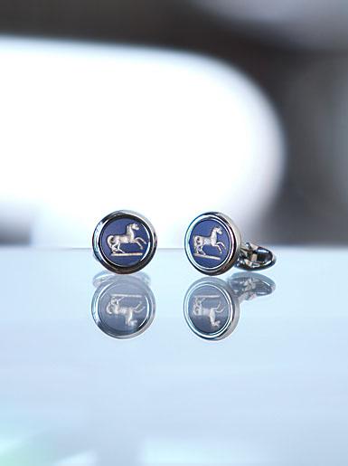 Wedgwood Saxon Blue Round Cufflinks, Prancing Horse
