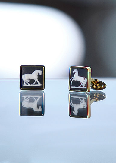Wedgwood Black Square Cufflinks, Gold Prancing Horse