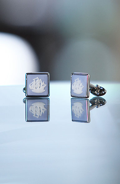 Wedgwood Pale Blue Square Cufflinks, Palladium Ship